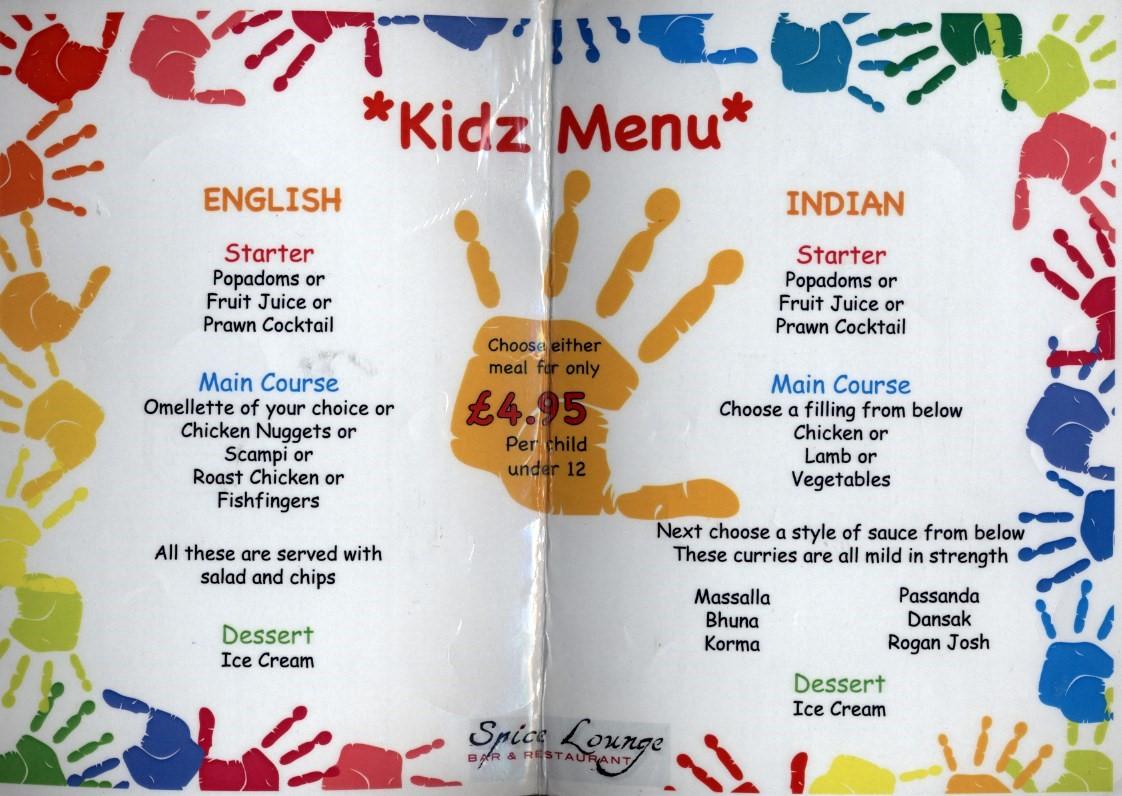 Kidz menu